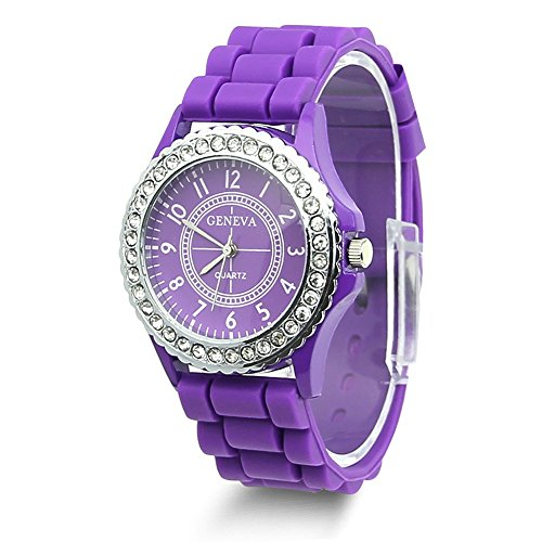Geneva Crystal (Estone Geneva Fashion Crystal Jelly Gel Silicon Girl Women's Quartz Wrist Watch (Purple))
