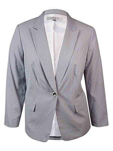 Tahari By Arthur S. Levine Womens Tahari Asl Plus Jacket, 16W, Blue