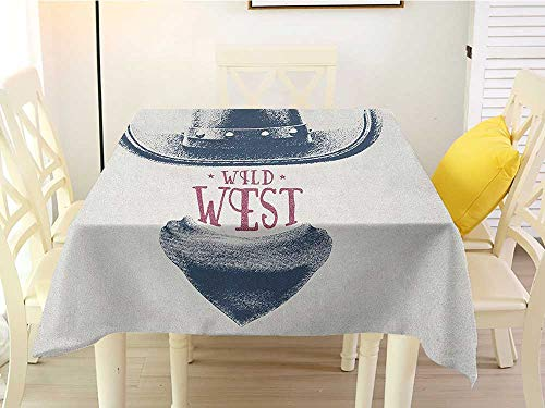 L'sWOW Square Tablecloth Cream Western Graphic Design of Wild West Cowboy Hat and Scarf Vintage Colors American Print Grey Black Red Stripe 36 x 36 -