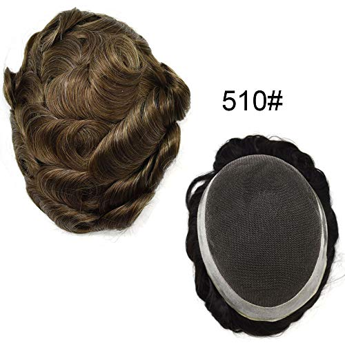 347a436633 Lyrical Hair USA Mens Toupee French Lace Hair Replacement Poly System  Breathable Hairpiece Wig (10X8, 510#/Medium Light Brown+10% Synthetic Gray)