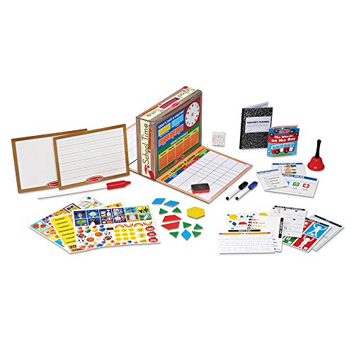 Melissa & Doug School Time! Classroom Play Set (Role-Play Center, Reusable Double-Sided Boards, Easy Storage Box, 150 + Pieces, Great Gift for Girls and Boys - Best for 4, 5, 6, 7 and 8 Year Olds)