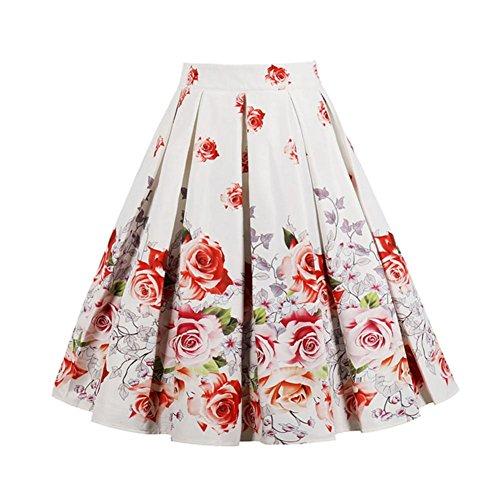 Plisse Jupe Chic Midi Couleur Imprime 12 Vintage Rockabilly Femmes Florale Fleurs A Jupe Rtro line Basique Patineuse Jupe Jupe iBaste Jupe Patineuse IUgqff