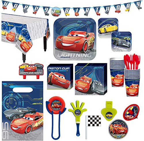 (Cars 3 Birthday Party Kit, Includes Happy Birthday Banner and Party Favor Pack, Serves 16, by Party)