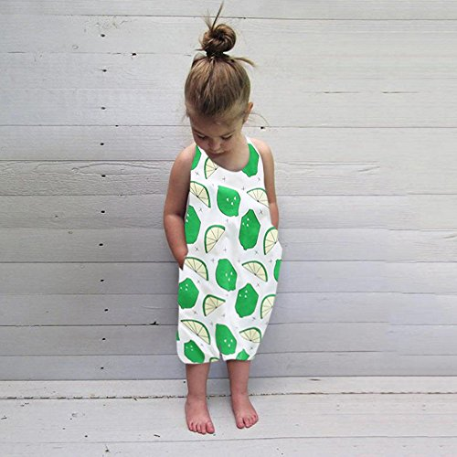 Lurryly Boys Girls Lemon Print Strap Pocket Rompers Jumpsuit Piece Pants Clothes 1-5 T from Lurryly