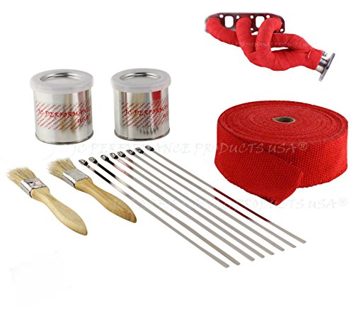 Header Wrap Kit Exhaust Pipe Fiberglass High Heat Kit with Sealant (50 Feet (1-50' Roll), Red - 2