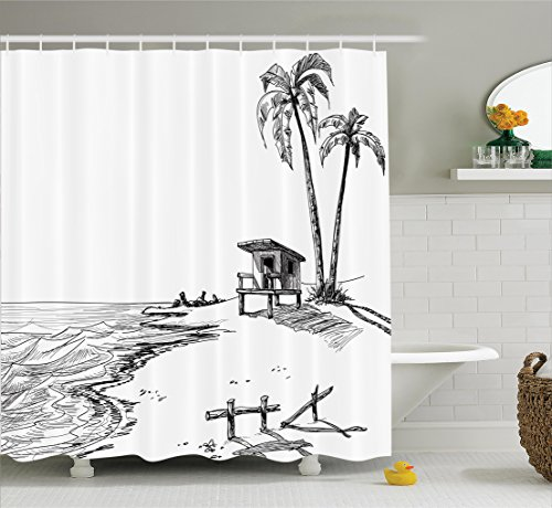Ambesonne Apartment Decor Collection, Sketched Figure of Summer Beach with Palm Trees and Lifeguard Stand Seascape Concept, Polyester Fabric Bathroom Shower Curtain, 75 Inches Long, Black White