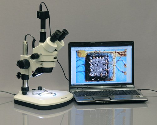 AmScope SM-1TZ-PL-10MA Digital Professional Trinocular Stereo Zoom Microscope, WH10x Eyepieces, 3.5X-90X Magnification, 0.7X-4.5X Zoom Objective, Upper and Lower LED Lighting, Large Pillar-Style Table Stand, Includes 0.5X and 2.0X Barlow Lenses and 10.7MP by AmScope
