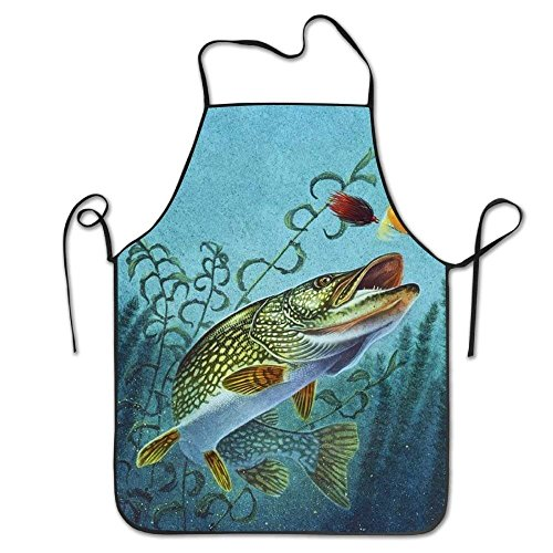 (Fishing Lure Chef Aprons Black Tailgate Grilling Bakery Prepare for Family Woman Drilling )