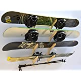Snowboard Ski Hanging Wall Rack -- Holds 4 Boards