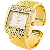 STC Gold Tone Hammered Style Rectangle Face Cuff Watch for Women