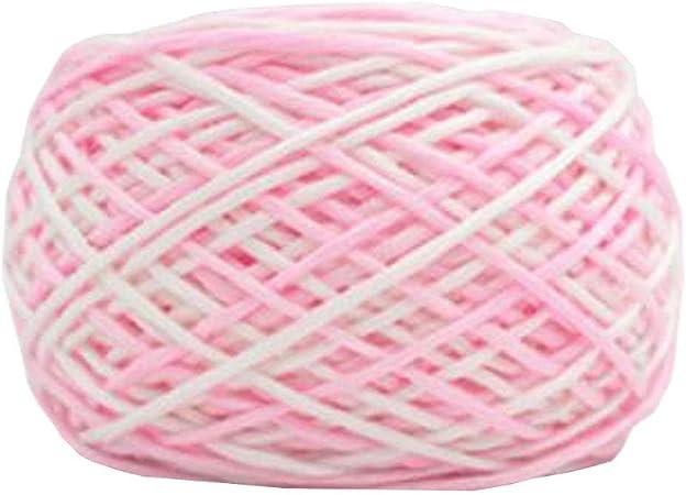 Chinashow hilo de algodón suave clásico de 14 onzas para ganchillo, tejer y hacer manualidades, color rosa y blanco: Amazon.es: Hogar