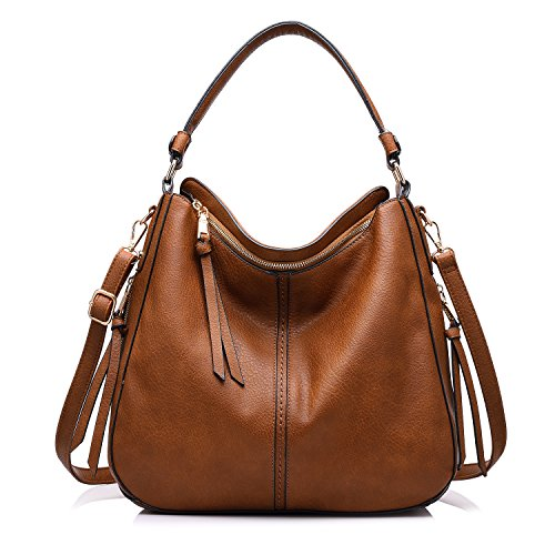 Realer Designer Handbag Purse PU leather Durable Shoulder Bag for Women's Messenger Bag Light Brown