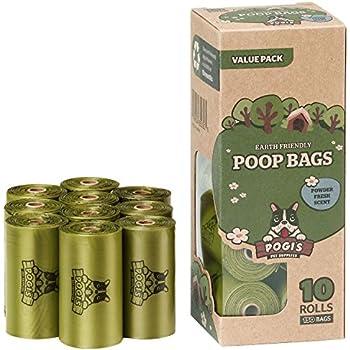Pogi's Poop Bags - 10 Rolls (150 Bags) - Large, Earth-Friendly, Scented, Leak-Proof Pet Waste Bags