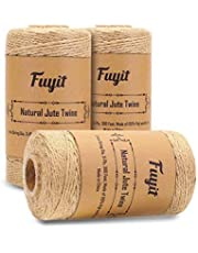 Fuyit Jute Corde 3 ply 900 Pieds Corde en Jute Artisanat Cadeau Ficelle d'emballage pour la décoration de Mariage Ficelles de Jardinage DIY Accessoires 3 Pcs