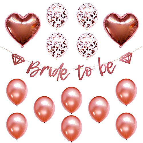Bridal Shower Bachelorette Party Decorations Decor Strung Banner (Bride to BE) & 14PC Balloons w/Ribbon [Rose Gold, Confetti, Heart] Kit Set Supplies | Hang on Wall Backdrop | Wedding | Engagement