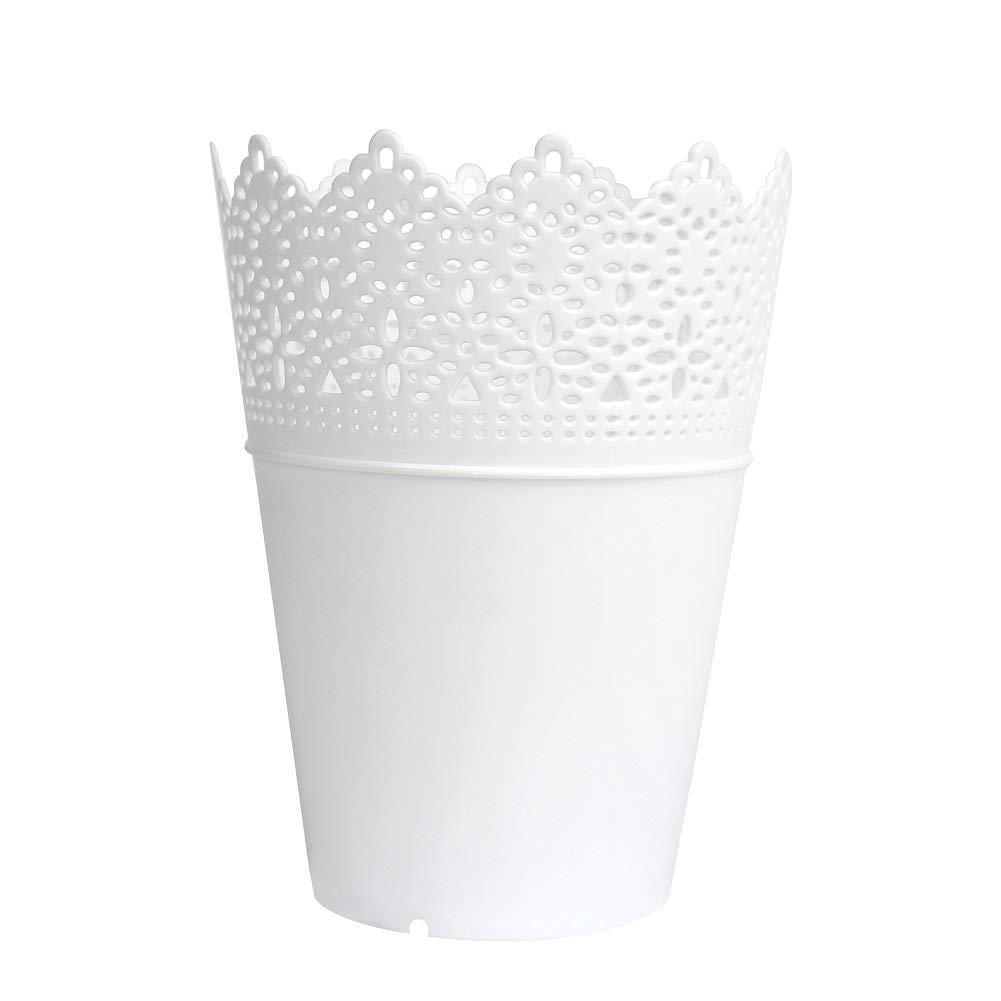 LAAT Plastic Flower Vase Desk Storage Basket Pen Holder Makeup Brush Organizer Plant Vase Flower Pot Container Home Decoration (White)