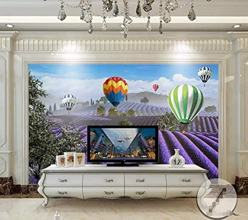 Highland Lavender - Wall Mural 3D Wallpaper Highland Lavender Flower Field Hot Air Balloon Wall Decoration Art