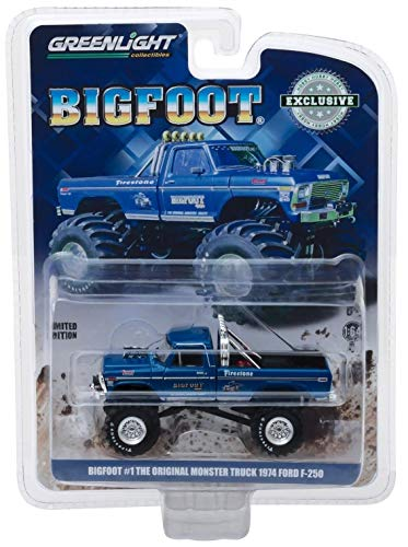 1974 Ford F-250 Monster Truck Bigfoot #1 Blue The Original Monster Truck (1979) Hobby Exclusive 1/64 Diecast Model Car by Greenlight 29934 (Bigfoot Truck)