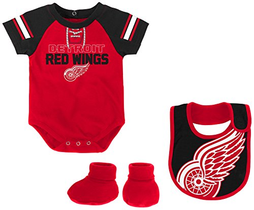 (Outerstuff NHL Detroit Red Wings Newborn & Infant Little D-Man Onesie, Bib & Bootie Set, 18 Months, Red)
