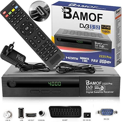 Bamof 2225 PRO - Receptor de satélite digital (HDTV, DVB-S/DVB-S2, HDMI, SCART, 2 puertos USB, Full HD 1080p) [preprogramado para Astra, Hotbird y ...