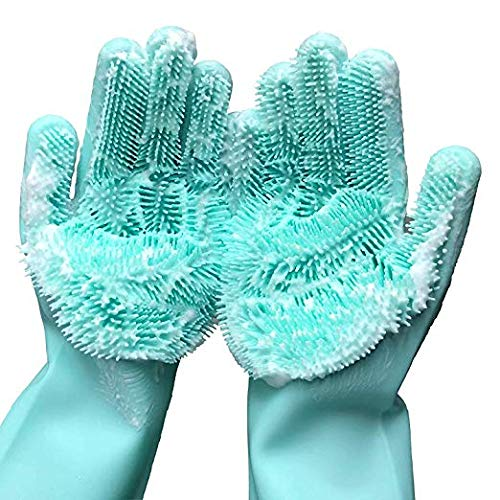 Magic Saksak Silicone Dishwashing SpongeGloves (1 Pair:Left + Right), Reusable Cleaning Gloves Kitchen Tool for Cleaning, Household, Dish Washing, Washing the Car, Pet Hair Care (13.6″ Large)