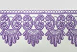 Altotux 3'' Lilac Lavender Light Purple Embroidered Floral Scalloped Venice Lace Trim Victorian Guipure Sewing Supplies By Yard (UB052)
