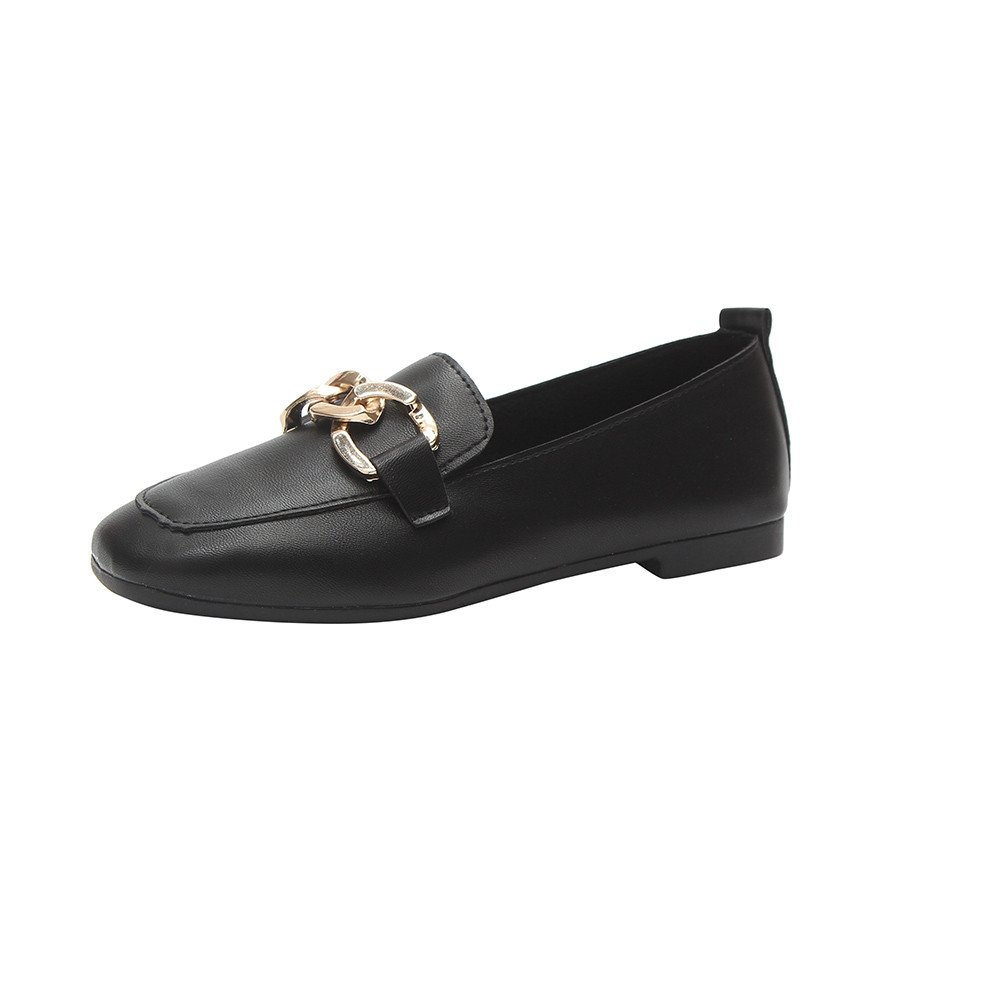 Nevera Womens Pointy Toe Solid Plain Ballet Flats Buckle Slip On Walking Shoes Black