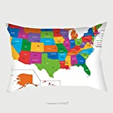 Custom Satin Pillowcase Protector Colorful Usa Map With States And Capital Cities 36096514 Pillow Case Covers Decorative