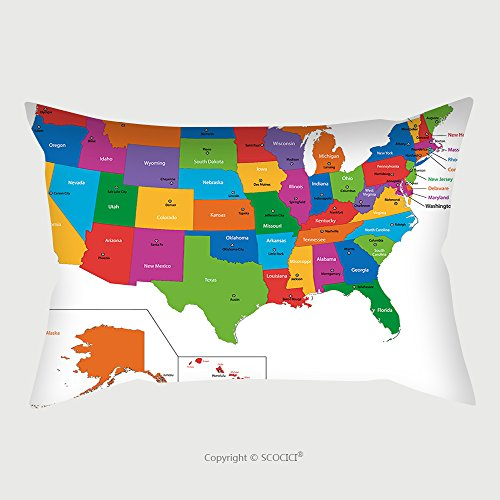 Custom Satin Pillowcase Protector Colorful Usa Map With States And Capital Cities 36096514 Pillow Case Covers Decorative by chaoran