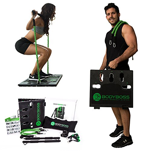 (BodyBoss Home Gym 2.0 - Full Portable Gym Home Workout Package, Includes 1 Set of Resistance Bands (2) - Collapsible Resistance Bar, 2 Handles + More - Full Body Workouts for Home, Travel or Outside)
