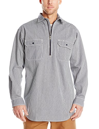 (Key Apparel Men's Big-Tall Long Sleeve Zip Front Hickory Stripe Logger Shirt, Hickory Stripe, Large-Tall)