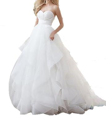 Fanmu Sweetheart A line Layered Organza Wedding Dress Bridal Gowns ...