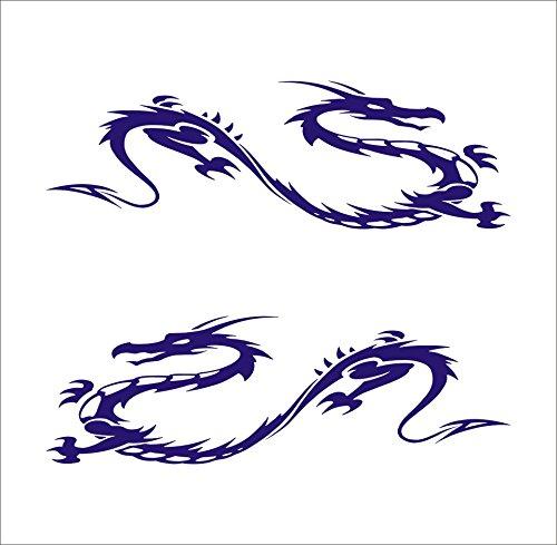 3105__DBL Car stickers Tribal Dragons ( Dark Blue)