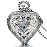 JewelryWe Mother's Day Gift Vintage Silver Tone Heart Locket Style Pendant Pocket Watch Necklace for Girls Lady Women, 30 Inch Chain
