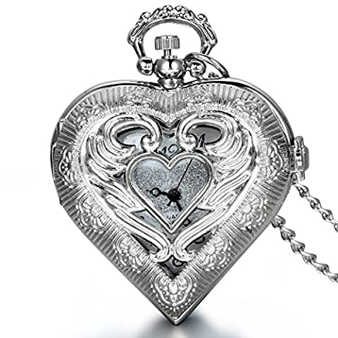 JewelryWe Newest Vintage Silver Tone Heart Locket Style Pendant Pocket Watch Necklace for Girls Lady Women, 30 Inch Chain (Mother's Day (Vintage Style Pocket Watch)