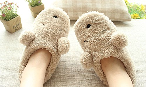 Women's Ladies Girls Winter Warm Fleece Slippers,Cute Cartoon Bear Soft Cozy Thermal Fuzzy Plush Anti-skid Home Mules Scuff Slip-on Lightweight Indoor Bedroom Floor Slippers Ankle Boots Footwear Shoes
