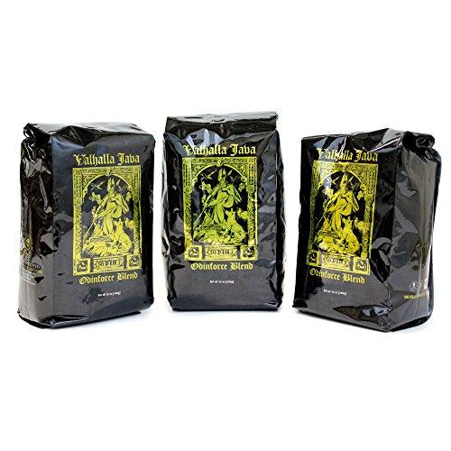 Valhalla Java Whole Bean Coffee Bundle Deal, USDA Certified Organic & Fair Trade (3-Pack),36Oz