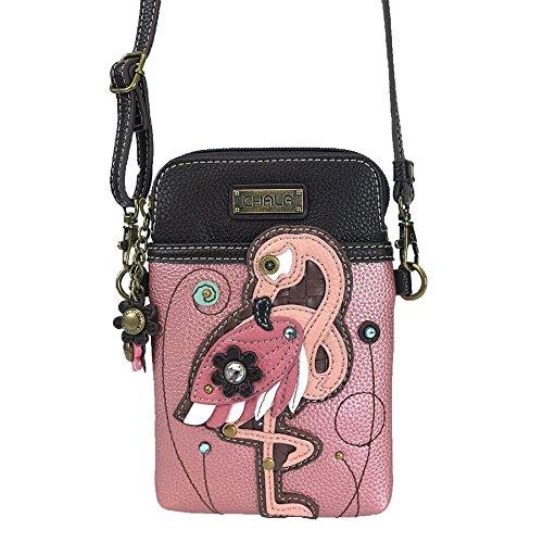 Handbag Color Multi Pink (Chala Crossbody Cell Phone Purse-Women PU Leather Multicolor Handbag with Adjustable Strap - Flamingo Pink)