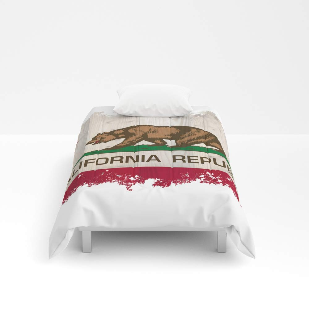 Society6 Comforter, Size Twin: 68'' x 88'', California Republic Flag on Woodgrain by Bauhaus