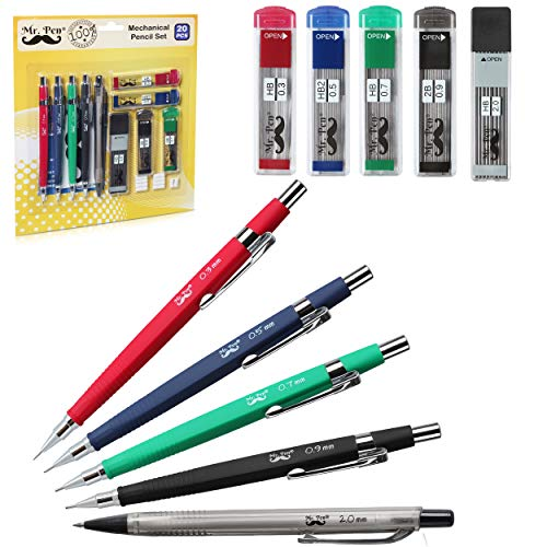 Mr. Pen- Mechanical Pencils, 5 Sizes 0.3, 0.5, 0.7, 0.9 and 2mm Drawing Pencils, Lead & Eraser Refills, Mechanical Pencil, Art Supplies, Graphite Pencils, Sketch Pencils, Art pencils, Drafting Pencils (Architecture Eraser)