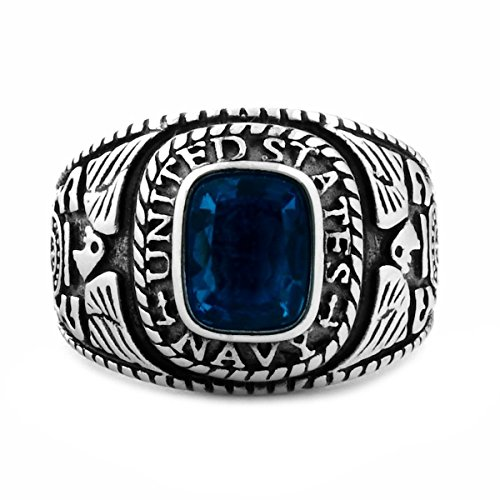Oceana: Mens 3.0ct Navy Simulated Blue Sapphire USA Military Signet Ring 316 Steel, 3151 sz 10.0 - Gents One Stone Ring