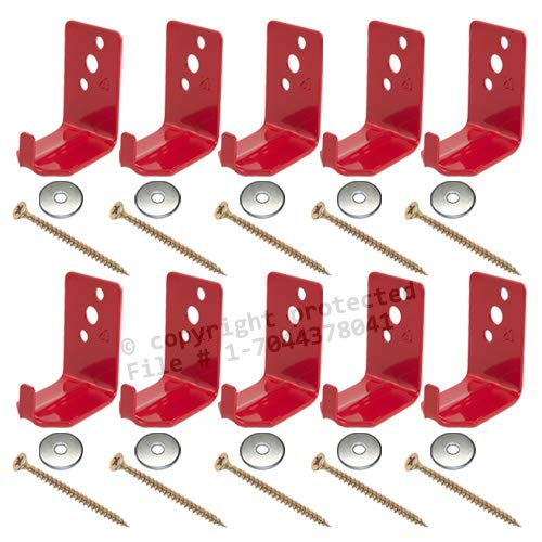 ((Lot of 10) Universal Fire Extinguisher Wall Hook, Mount, Bracket, Hanger for 15 to 20 Lb. Extinguisher - FREE SCREWS & WASHERS INCLUDED)