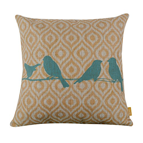 Cotton Linen Decorative Throw Pillow Case Cushion Cover Blue Bird 18 X18