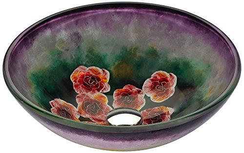 ANZZI Impasto 16.5 in x 16.5 in Modern Tempered Deco Glass Vessel Bathroom Round Sink in Purple Floral Hand Painted Mural   Lavatory Top Mount Installation Oval Toilet Sink   LS-AZ220