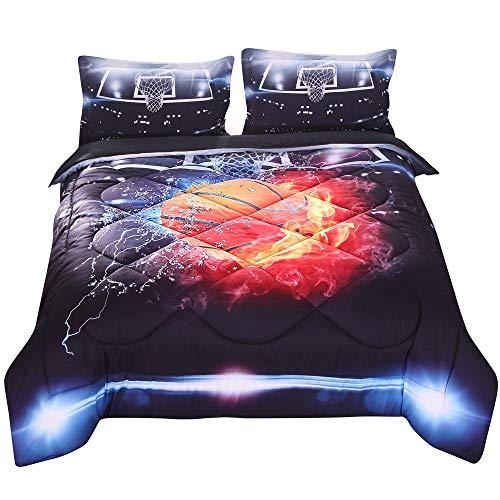 Basketball fire Print 3D Cotton Comforter Sets 3 Pieces, 1 Comforter, 2 Pillowcases (Queen, Basketball Fire)