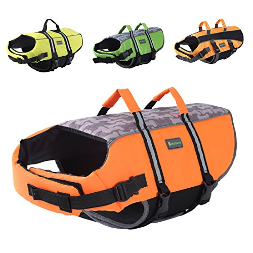 Wellver Dog Life Jacket Pet Life Preserver Saving Vest with Reflective Strips,XLarge,Orange