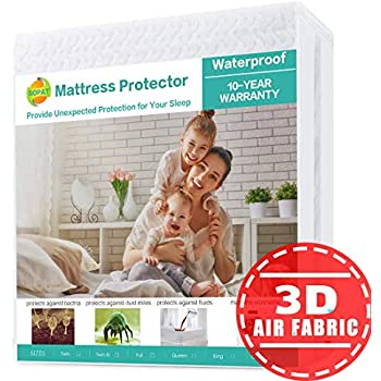 SOPAT King Mattress Protector 100% Waterproof Mattress Pad Cover,3D Air Fabric,Breathable Smooth Soft Cover