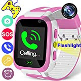 Kids Smart Watch Phone for Boys Girls Digital Watch with 9 Games 1.44'' Touchscreen Sport Wrist Smartwatch SOS Camera SIM Card Slot Alarm Flashlight Outdoor Back to School Gift Learning Toys
