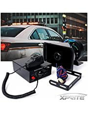 Xprite 100W Warning Speaker 7 Tone Police Siren PA System Set w/Handheld Microphone for Emergency Vehicles