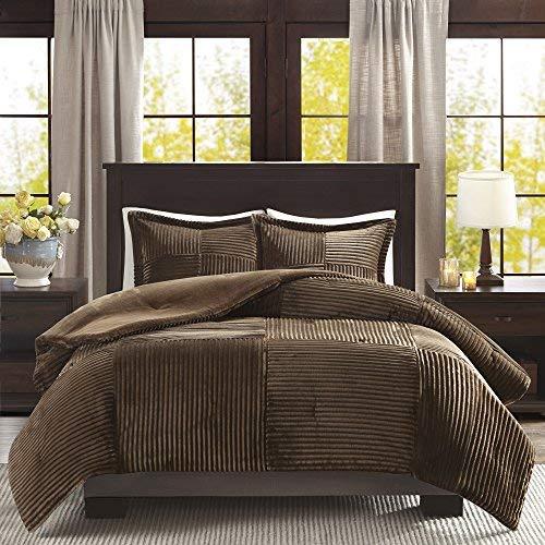 - Madison Park Corduroy Plush Comforter Mini Set Twin/Brown (Renewed)